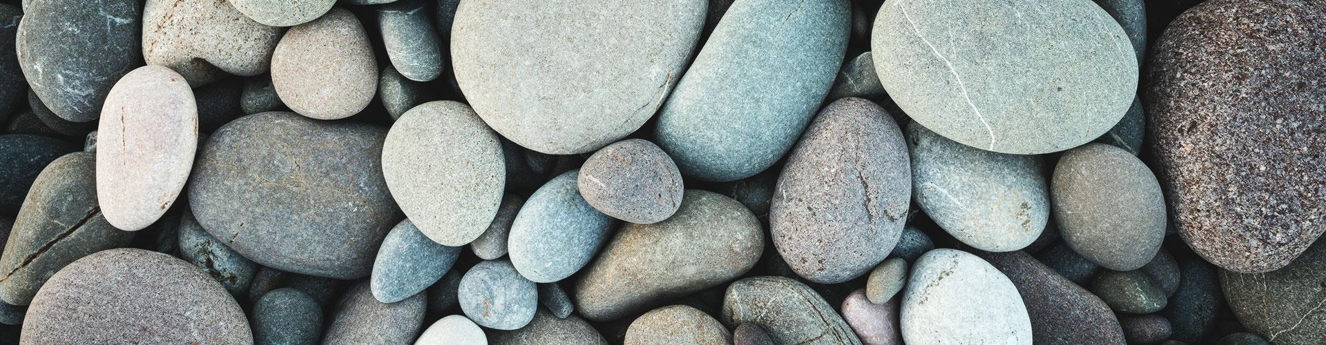 Viele helle Kieselsteine liegen auf dem Boden