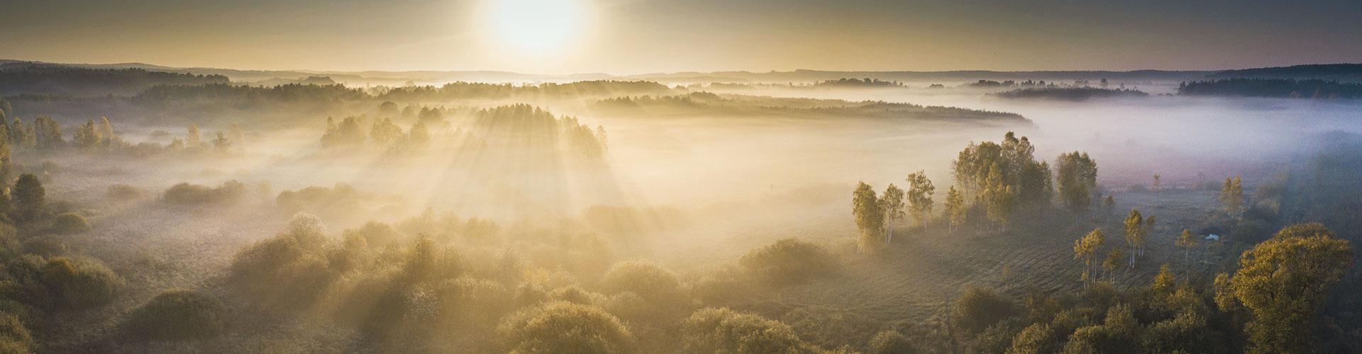 Eine von Nebel bedeckte Landschaft, die Sonne geht unter