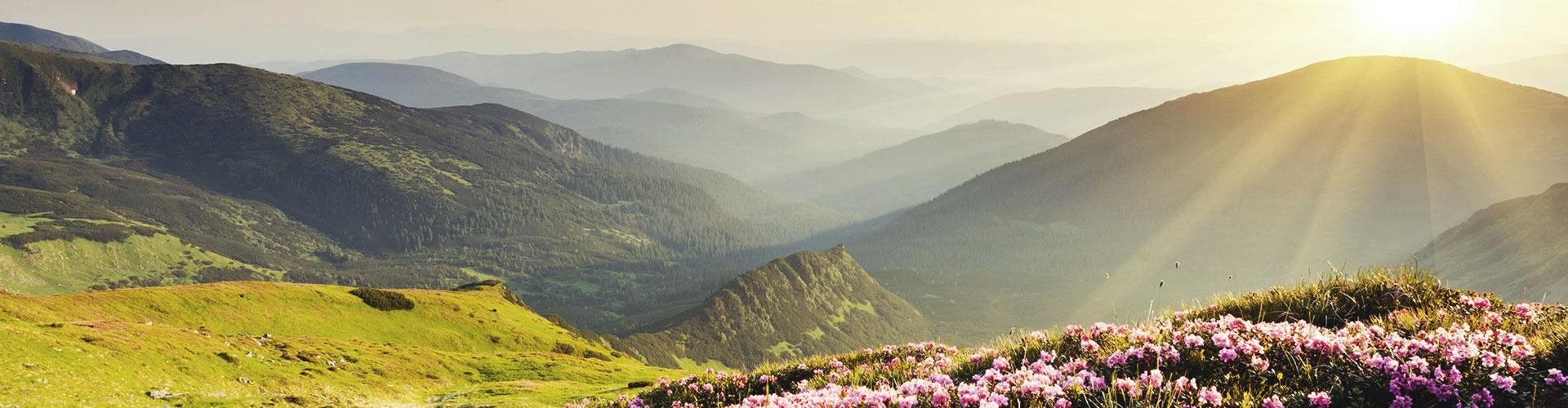 Die Sonne steht tief über einem Bergmassiv, im Vordergrund eine Wiese