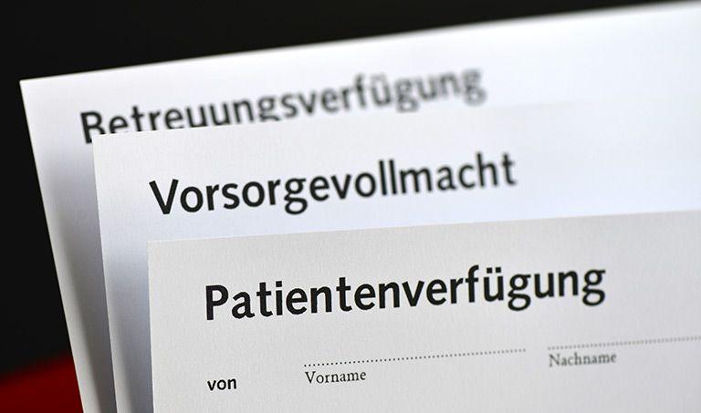 Unterlagen für Patientenverfügung, Vorsorgevollmacht und Betreuungsverfügung.